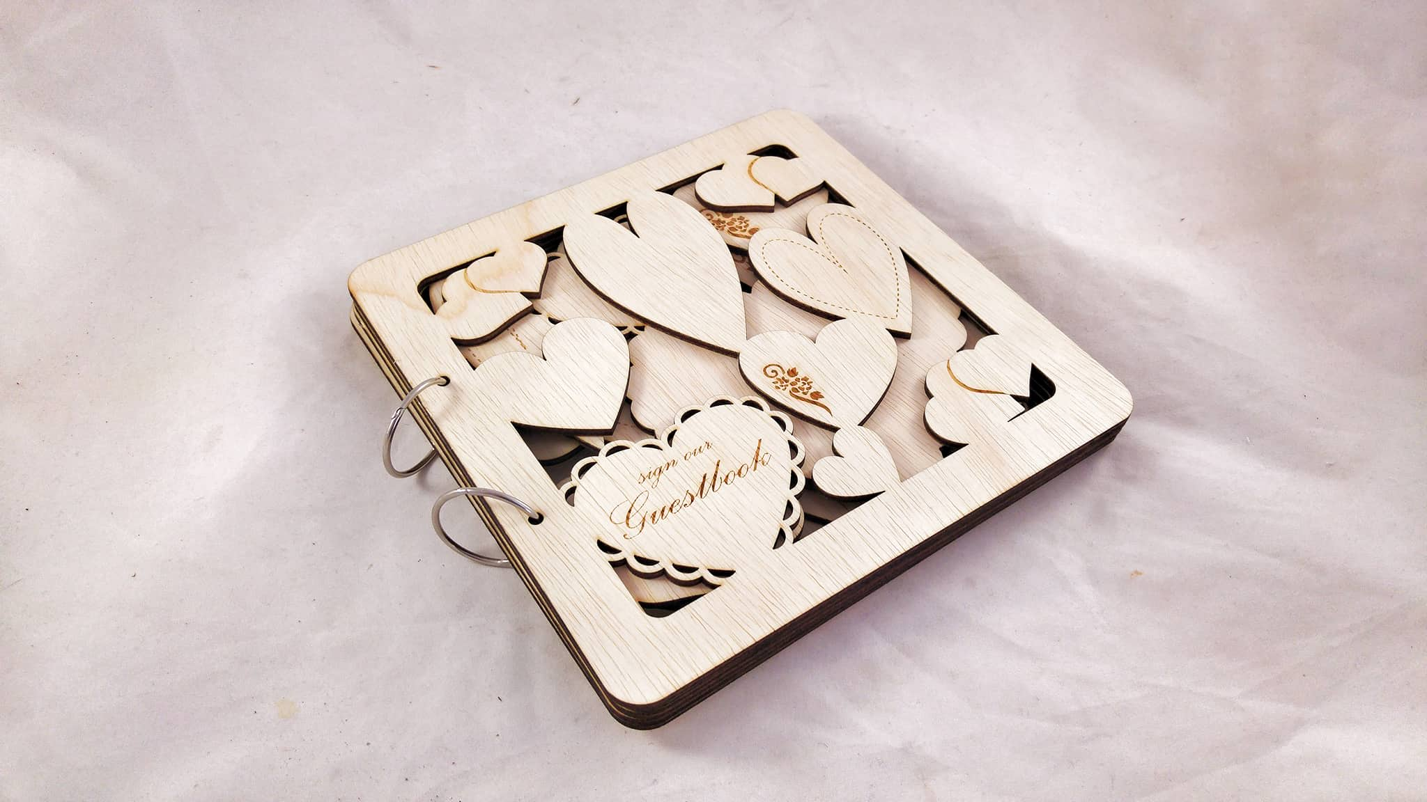 """Love, Love, Love"" Wooden Wedding Guest Book"