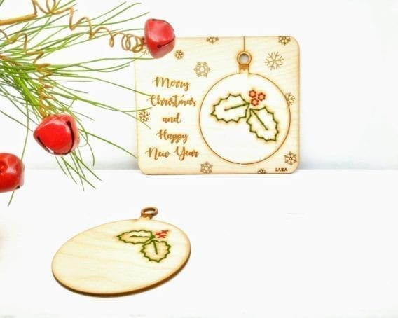 "Christmas greeting card ""Mistletoe Bauble"""