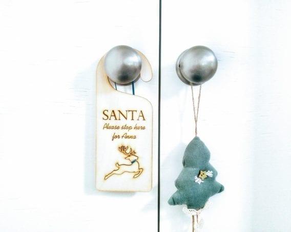 """Christmas Door Hanger """"Santa Stop Here"""""""