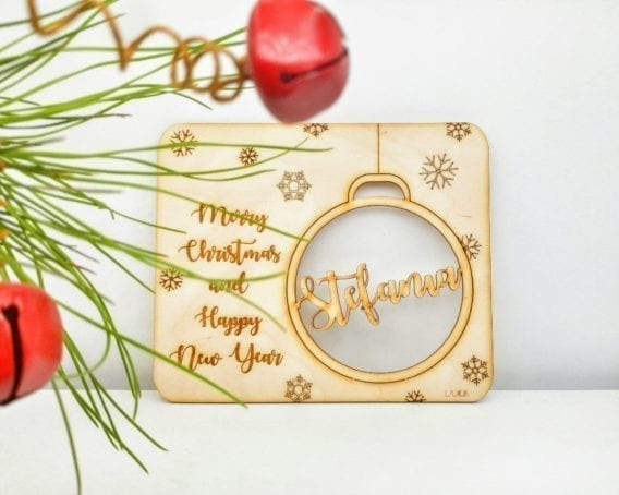 Personalized Name Bauble Christmas Card