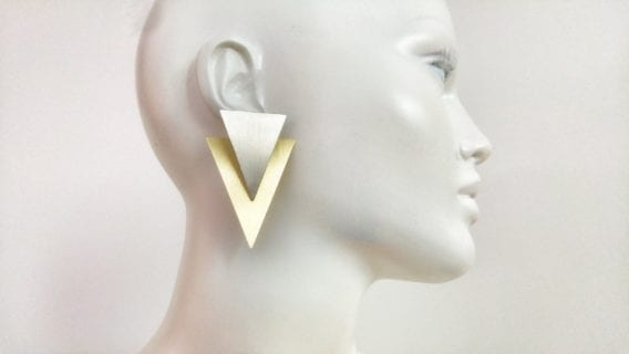 """Triangle"" Ear Jacket Earrings"
