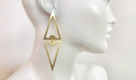 """""""Double Triangle"""" Drop Earrings"""